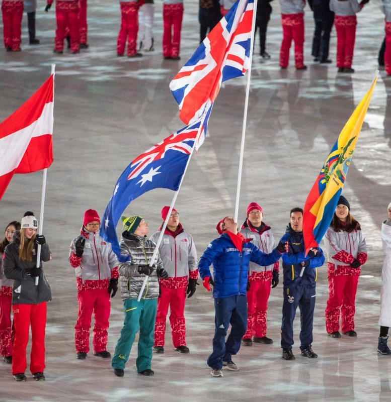 Billy Morgan, flag-bearer at Pyeongchang Olympics closing ceremony 2018 - photo Andy J Ryan, Team GB